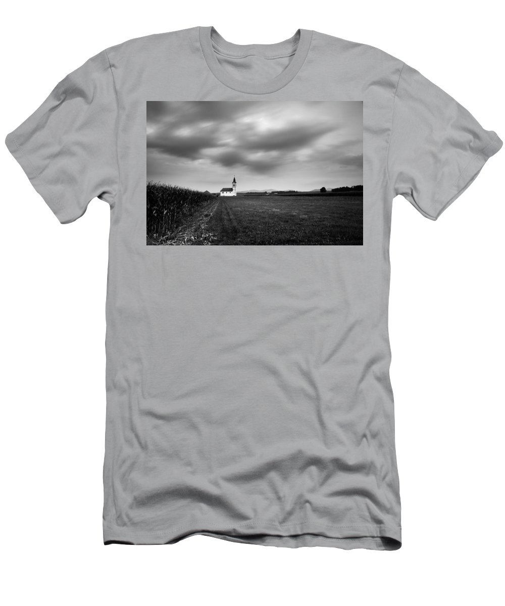 Dusk Men's T-Shirt (Athletic Fit) featuring the photograph Storm Clouds Gather Over Church by Ian Middleton