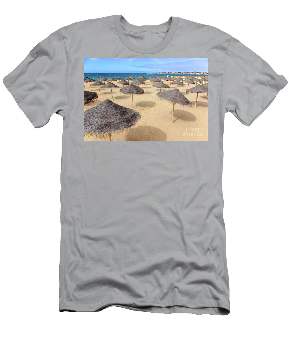 Beach Men's T-Shirt (Athletic Fit) featuring the photograph Straw Sunshades by Carlos Caetano