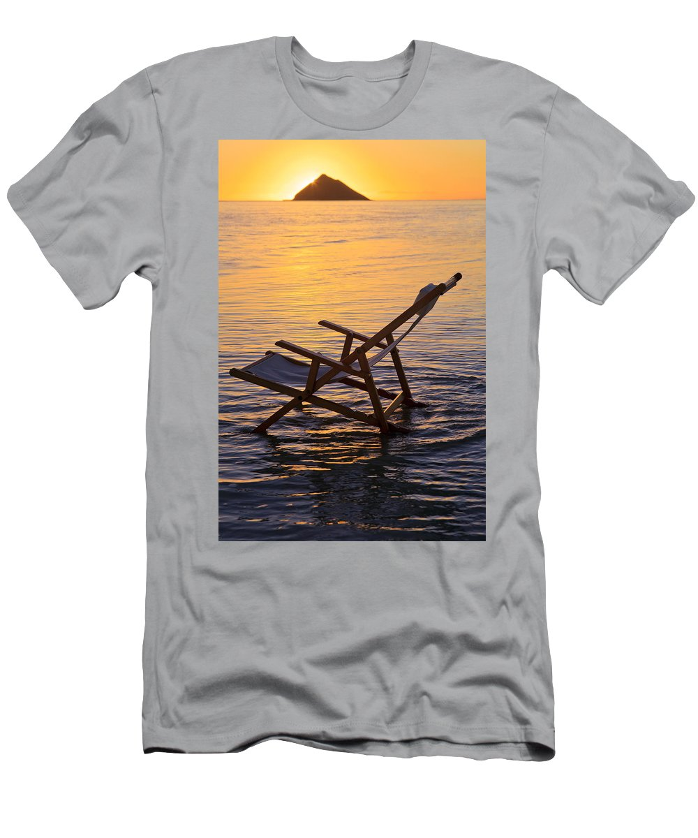 Alone Men's T-Shirt (Athletic Fit) featuring the photograph Sunrise Beach Lounging by Tomas del Amo