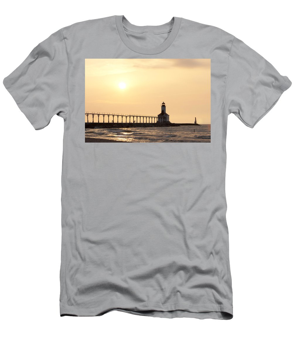Sunset Men's T-Shirt (Athletic Fit) featuring the photograph Sunset At The Lighthouse by Scott Wood