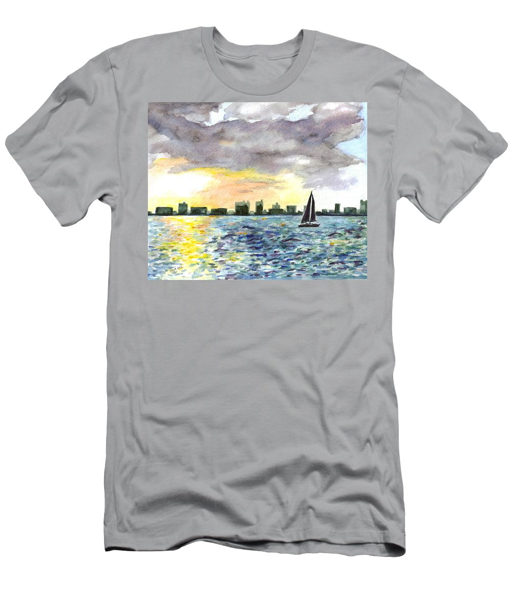 City Scape Men's T-Shirt (Athletic Fit) featuring the painting Sunset Sail by Clara Sue Beym