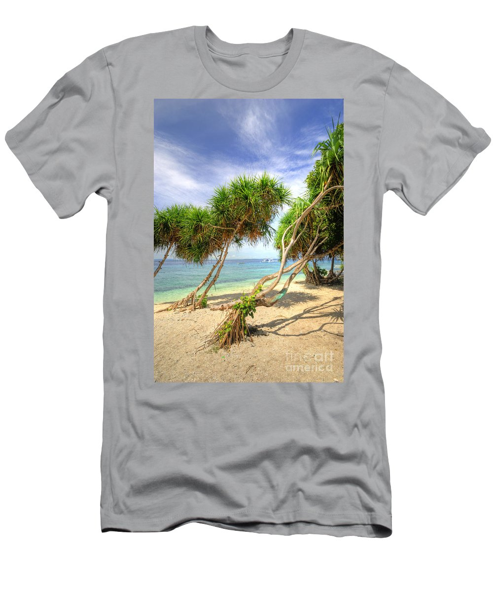 Yhun Suarez Men's T-Shirt (Athletic Fit) featuring the photograph Swaying Palm Trees by Yhun Suarez