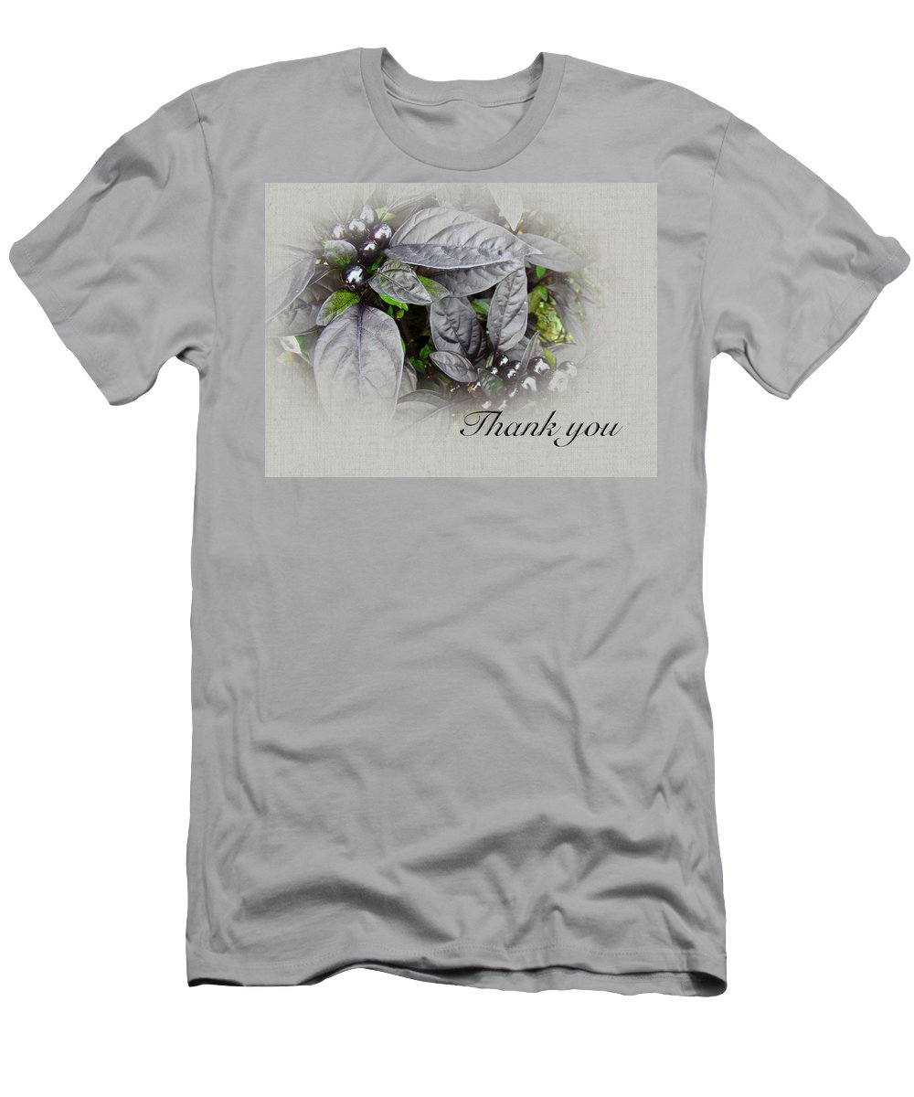 thank You Men's T-Shirt (Athletic Fit) featuring the photograph Thank You Card - Silver Leaves And Berries by Mother Nature