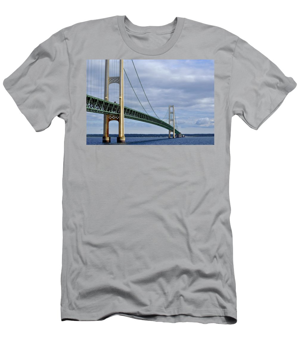 Suspension Bridge Men's T-Shirt (Athletic Fit) featuring the photograph The Bridge by Marysue Ryan
