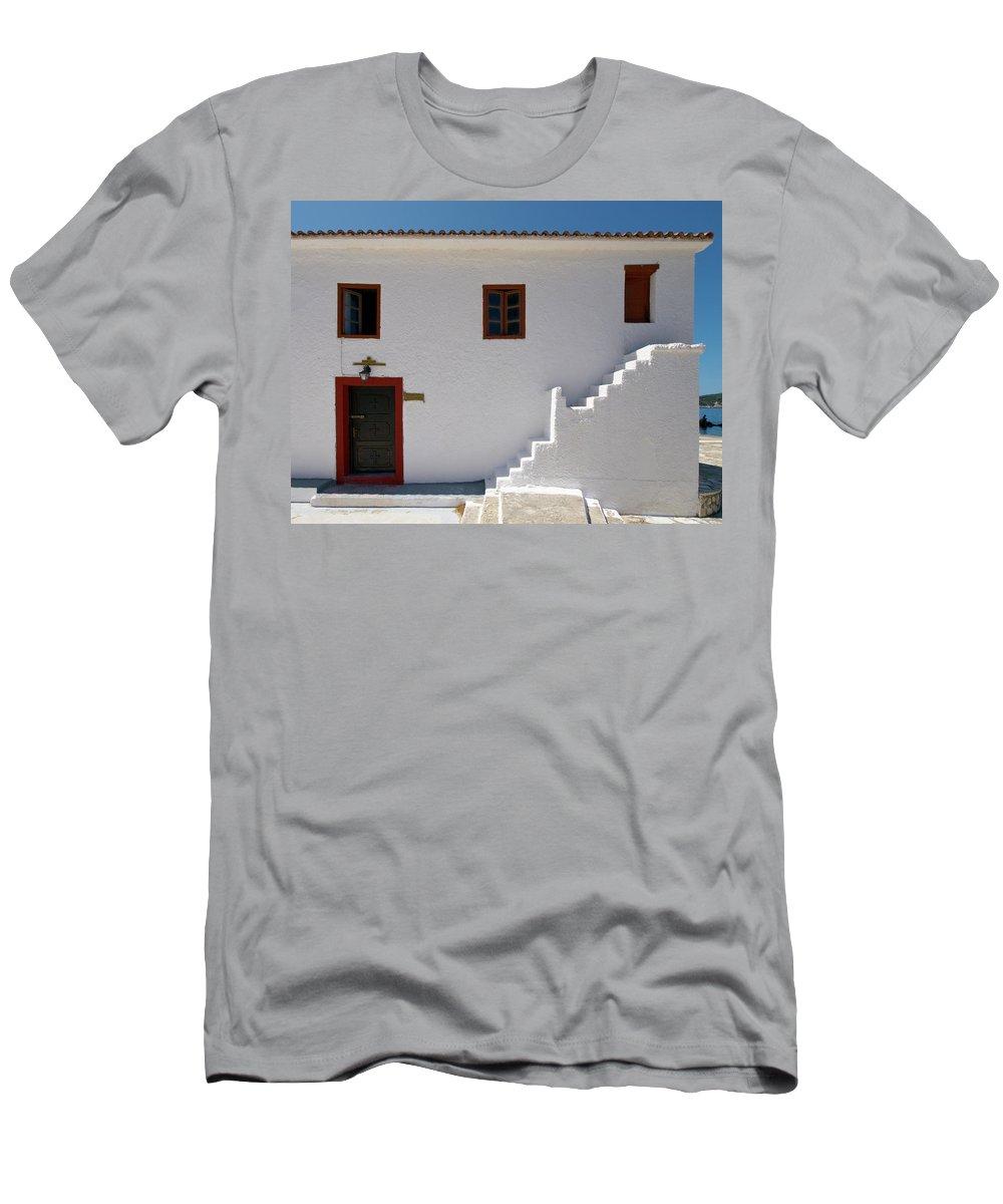 Jouko Lehto Men's T-Shirt (Athletic Fit) featuring the photograph The Door Of The Chappel by Jouko Lehto