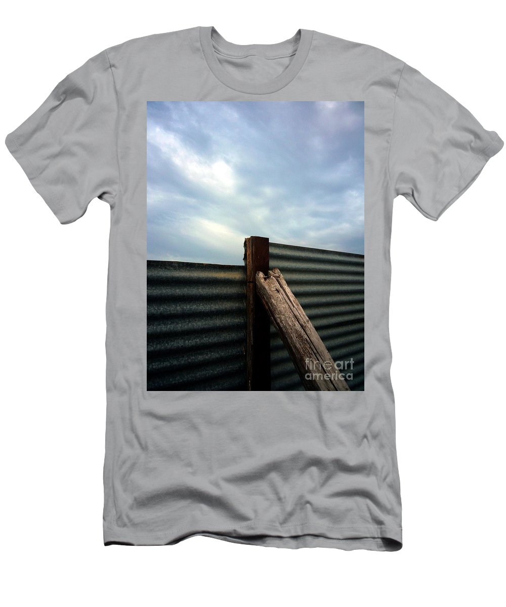 Rimini Men's T-Shirt (Athletic Fit) featuring the photograph The Fence The Sky And The Beach by Andy Prendy