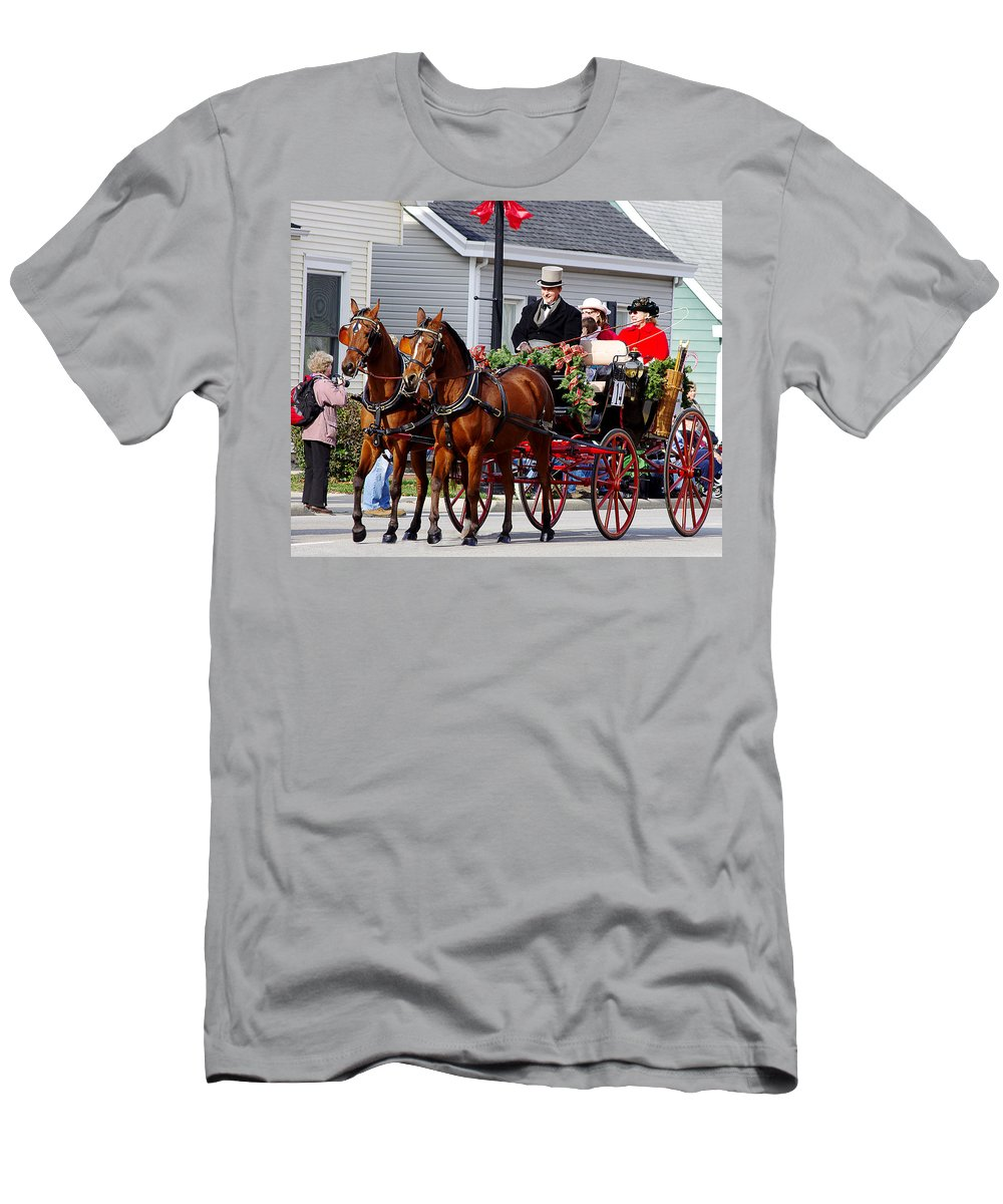 lebanon Horse Carriage Parade Men's T-Shirt (Athletic Fit) featuring the photograph The Good Old Days by Jenny Gandert