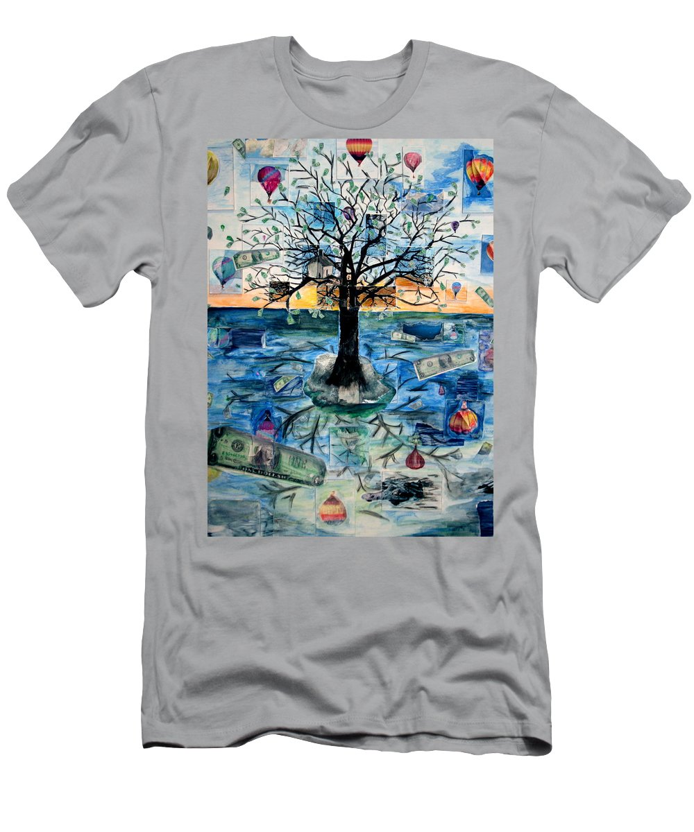 Hot Air Balloons T-Shirt featuring the painting The Money Tree by Kate Fortin