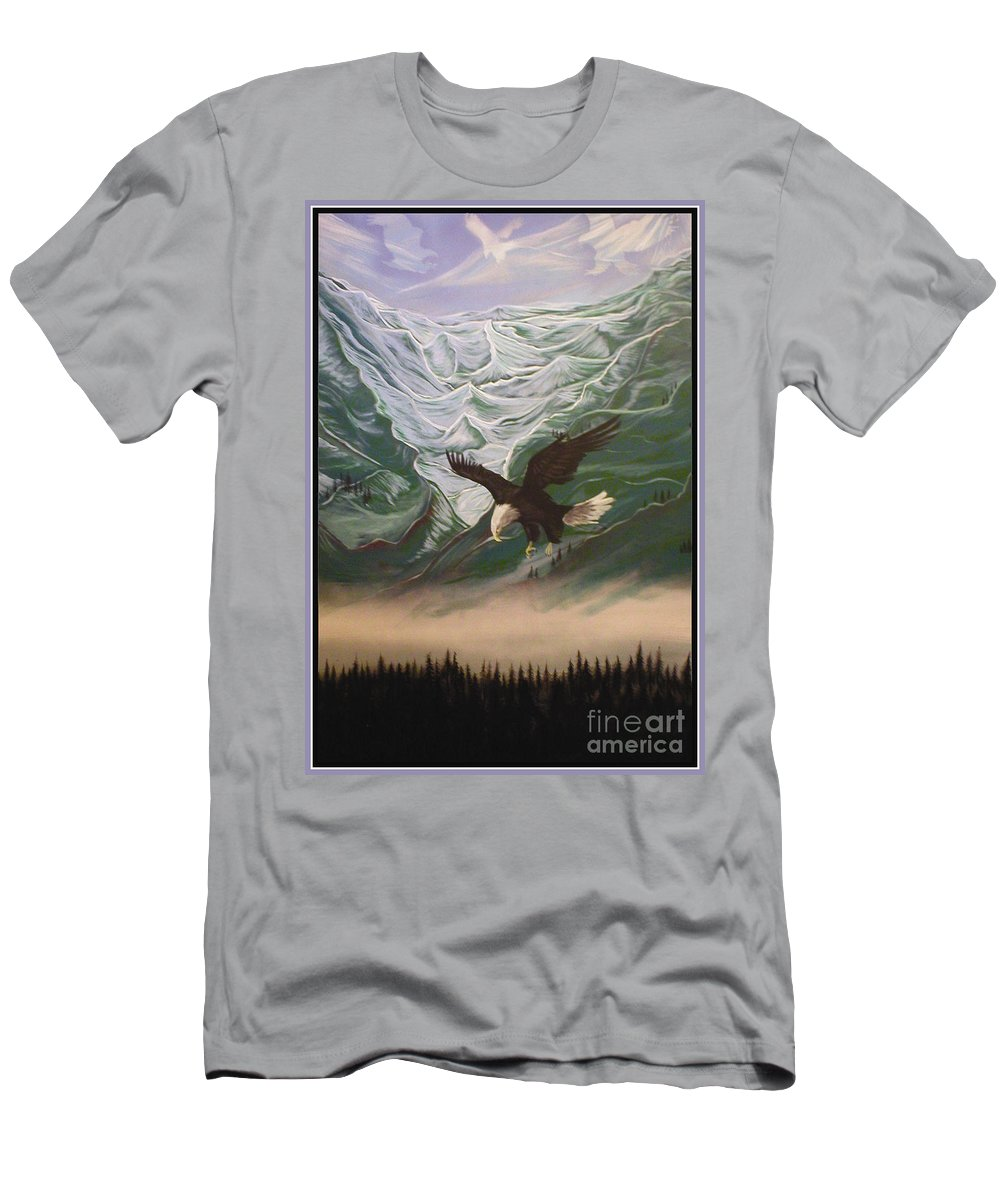 Eagle Men's T-Shirt (Athletic Fit) featuring the painting The Mountain by Curtis Mitchell