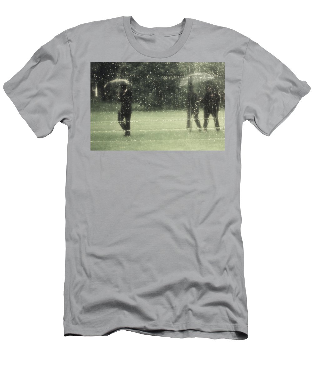 Rain Men's T-Shirt (Athletic Fit) featuring the photograph The Rain Shower by Marysue Ryan