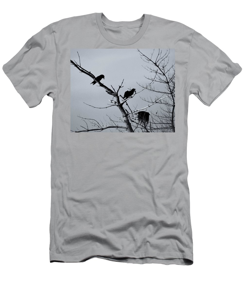 Ravens Men's T-Shirt (Athletic Fit) featuring the photograph The Raven Tree by Susan Capuano