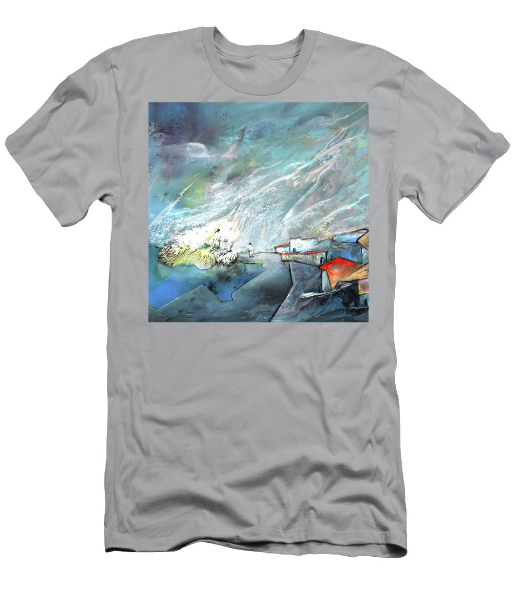 Impressionism Men's T-Shirt (Athletic Fit) featuring the painting The Shores Of Galilee by Miki De Goodaboom