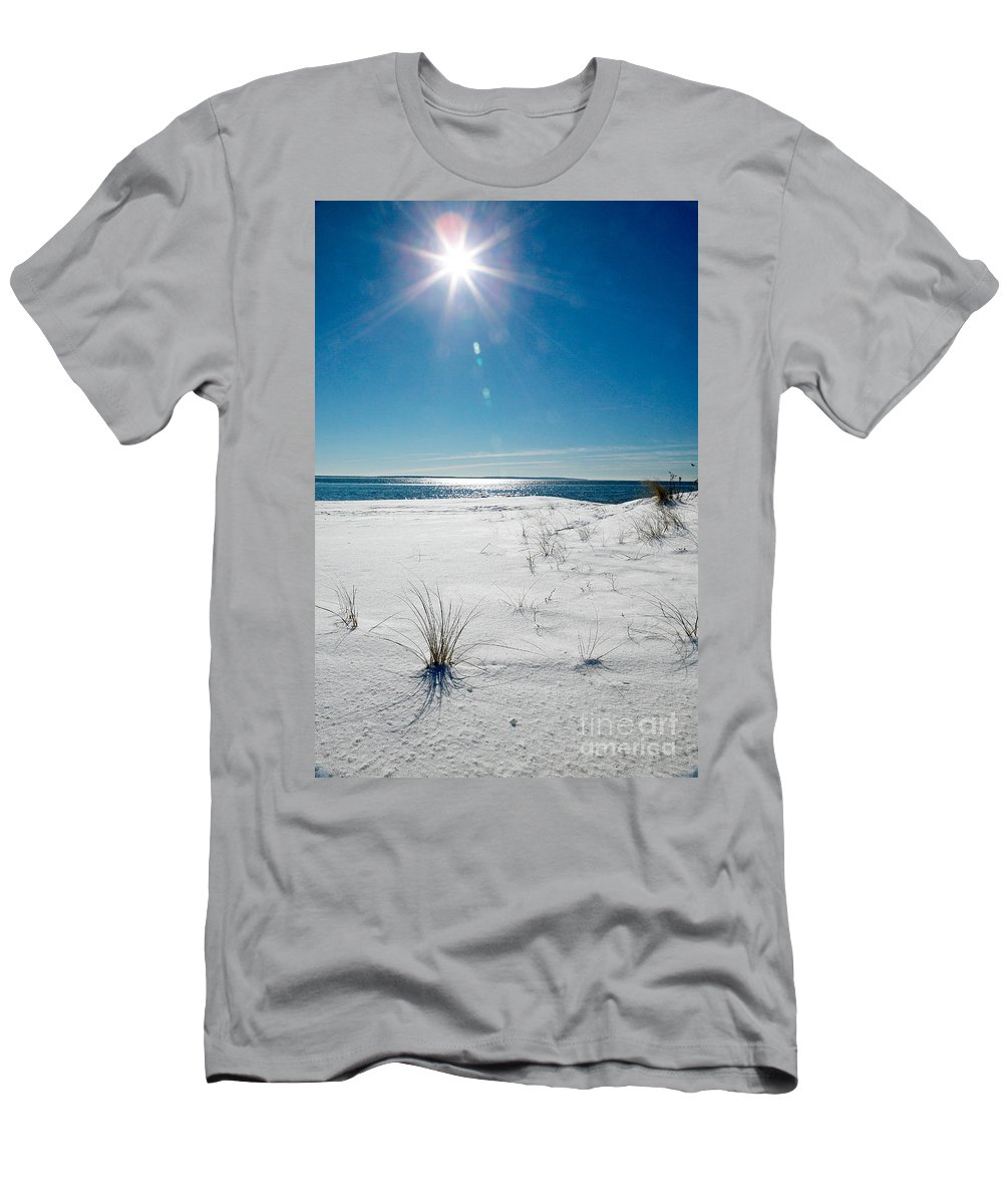 Winter Men's T-Shirt (Athletic Fit) featuring the photograph The Sun Shines Down On Freshly Fallen Snow On Bristol Beach by Matt Suess