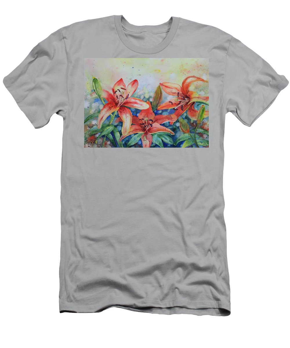Flowers Men's T-Shirt (Athletic Fit) featuring the painting Tiger Lily by Ruth Kamenev