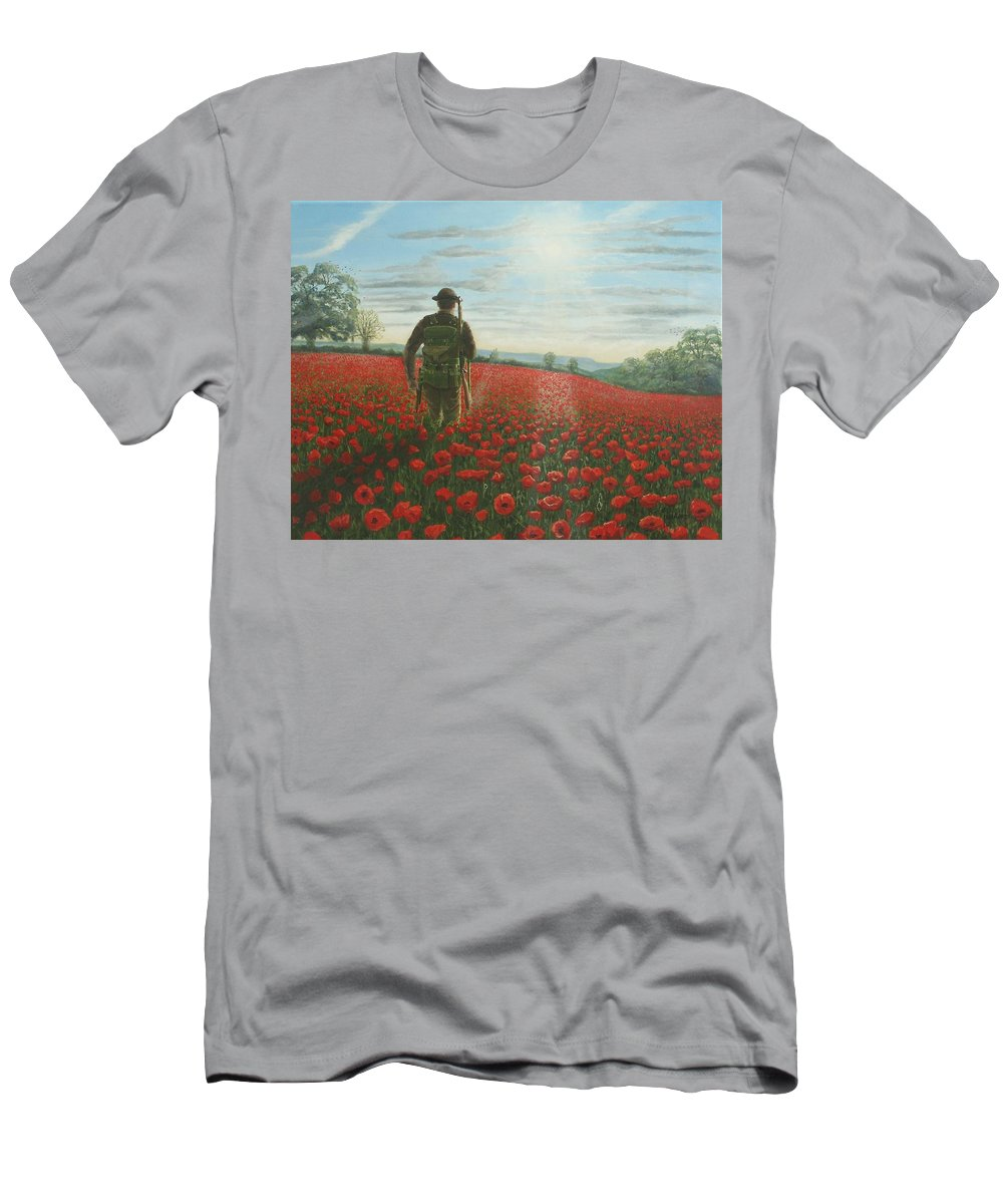 Ww1 Men's T-Shirt (Athletic Fit) featuring the painting Tommy 2 by Richard Harpum