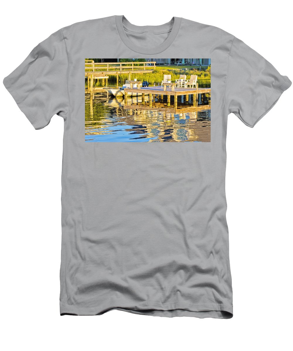 Topsail Men's T-Shirt (Athletic Fit) featuring the photograph Topsail Sound At Sunset by Betsy Knapp