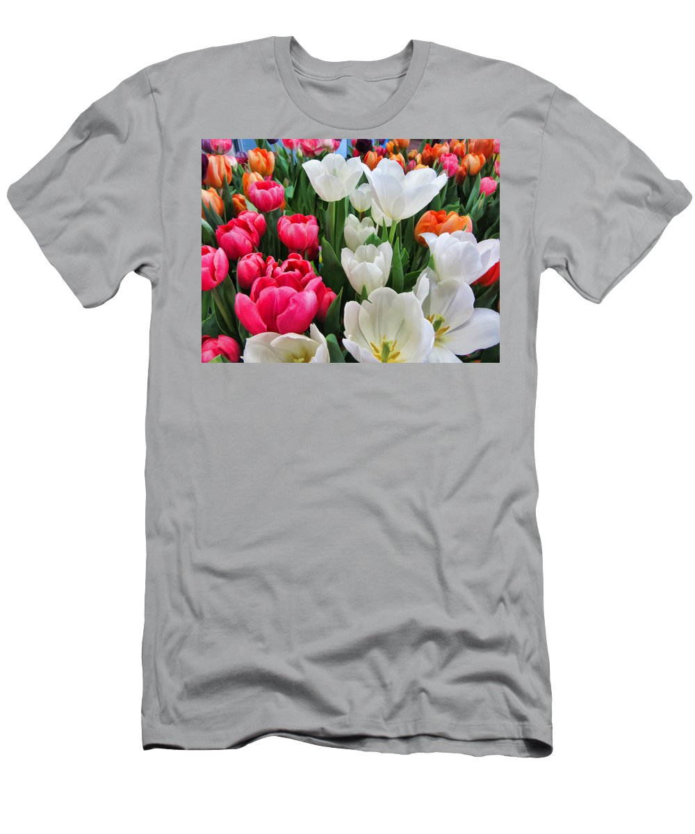 Tulips Men's T-Shirt (Athletic Fit) featuring the photograph Totally Tulips by Kathy Clark