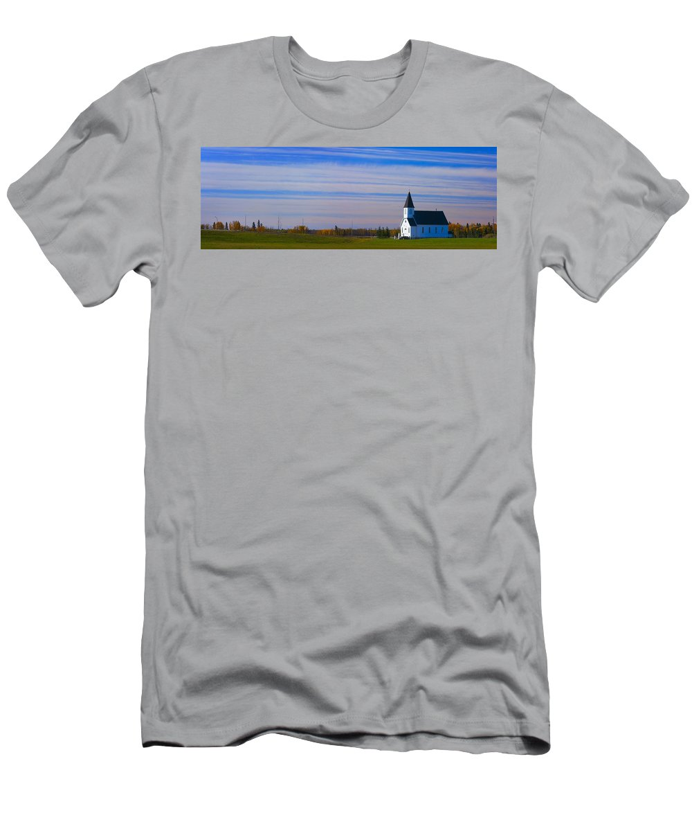 Field Men's T-Shirt (Athletic Fit) featuring the photograph Traditional Prairie Steeple Church In by Corey Hochachka