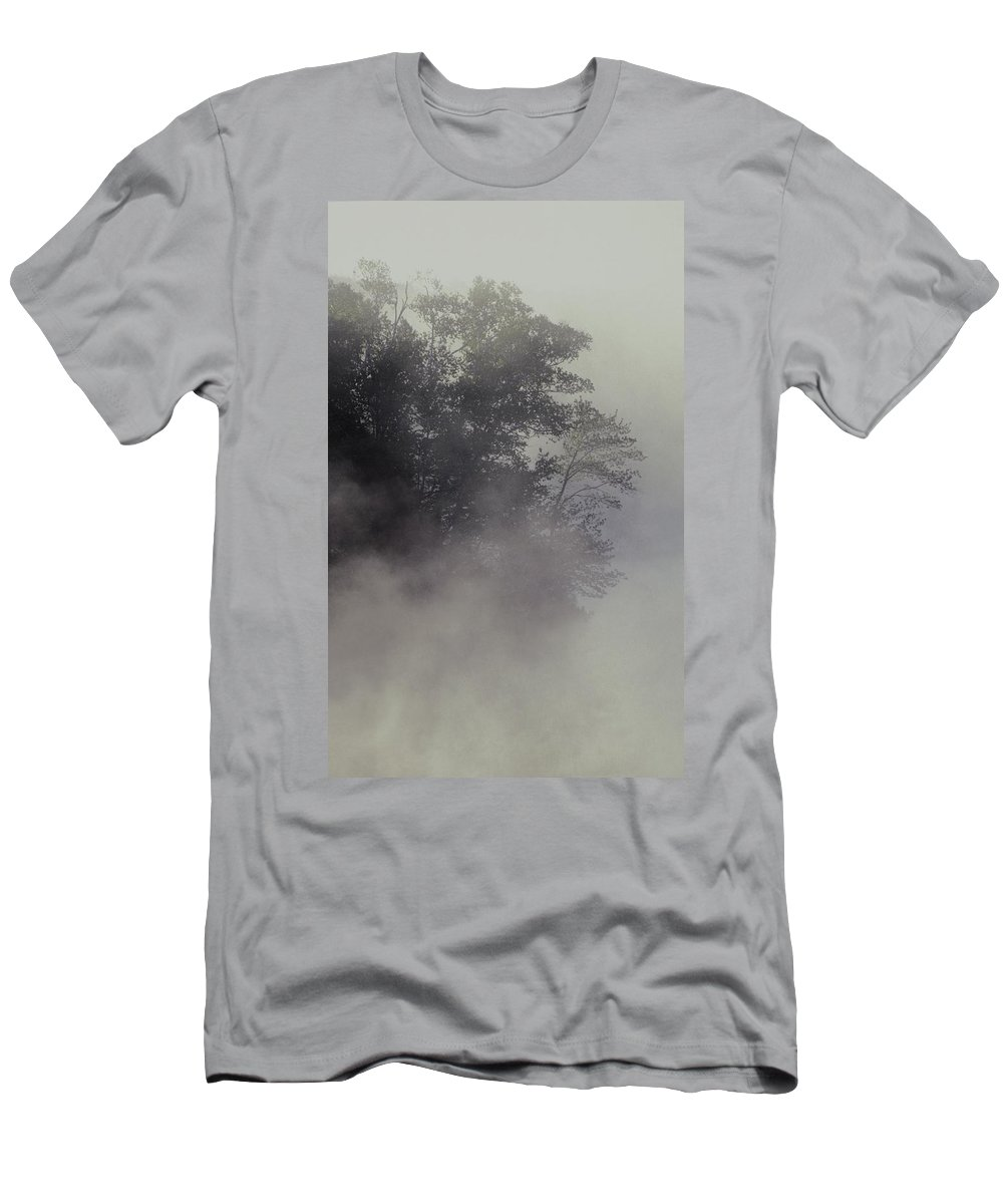 Silhouette Men's T-Shirt (Athletic Fit) featuring the photograph Tree Shrouded In Fog by David Chapman
