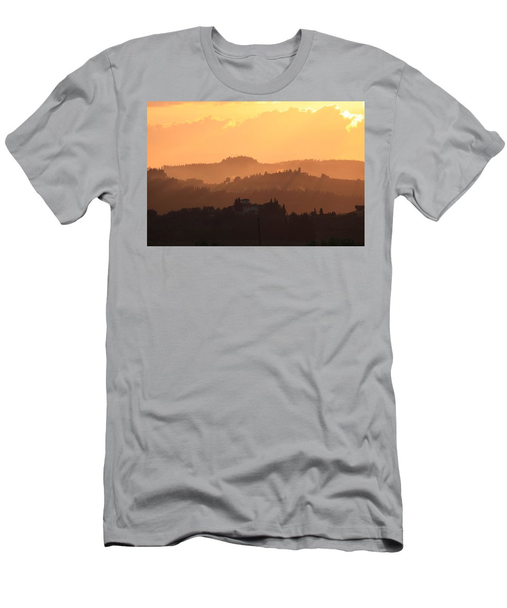 Sunset Men's T-Shirt (Athletic Fit) featuring the photograph Tuscany Sunset by Francesco Scali