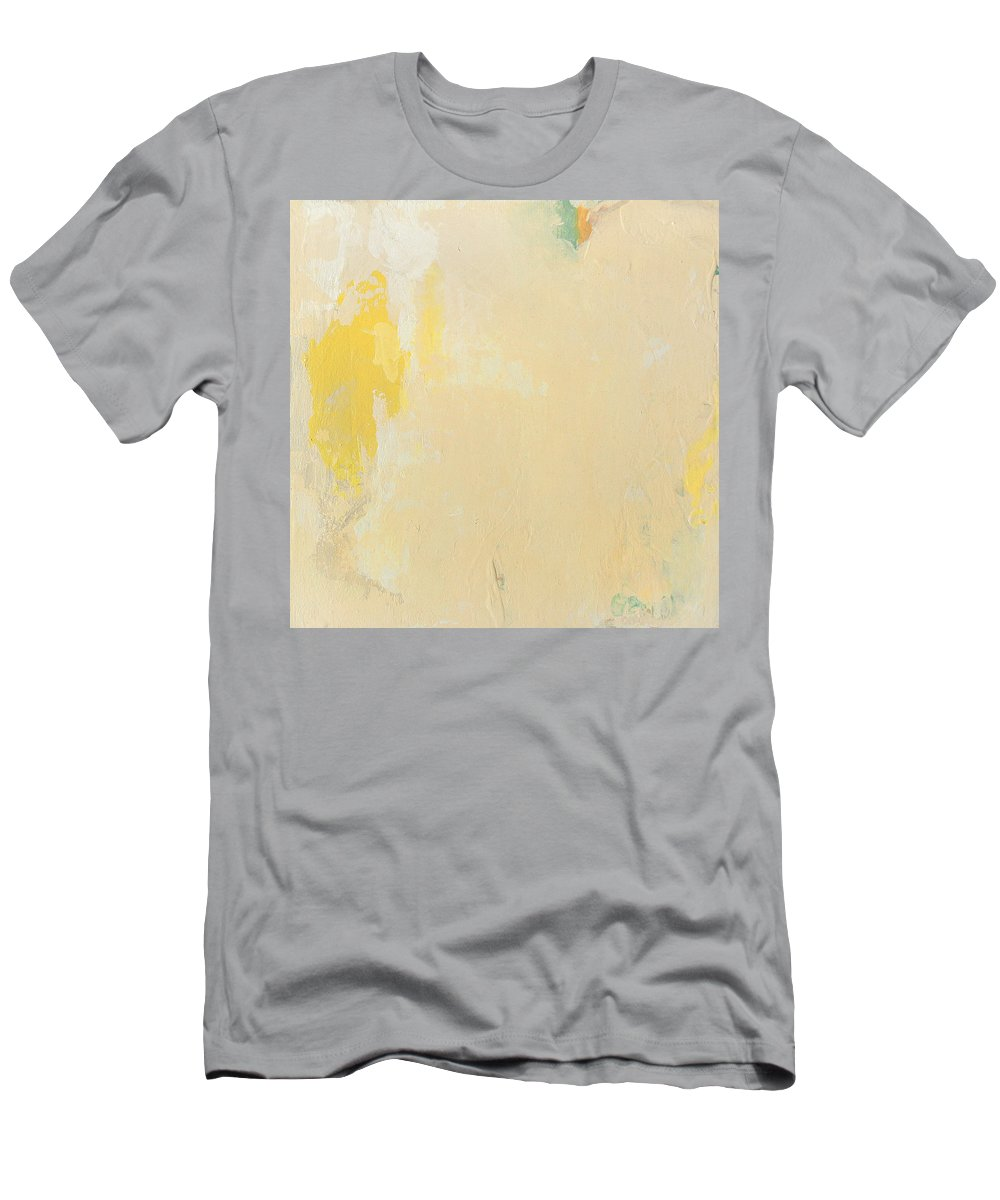 Painting Men's T-Shirt (Athletic Fit) featuring the painting Untitled Abstract - Bisque With Yellow by Kathleen Grace
