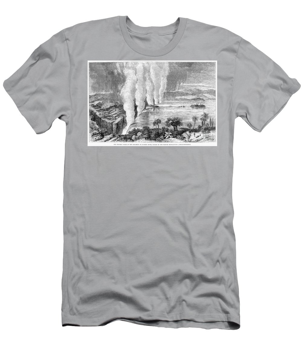 1860 Men's T-Shirt (Athletic Fit) featuring the photograph Victoria Falls, C1860 by Granger