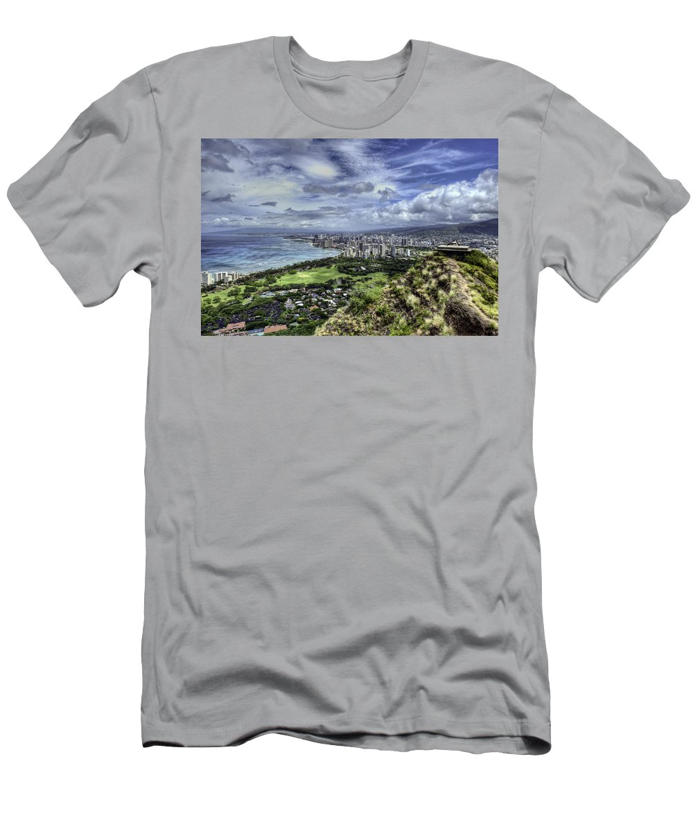 diamond Head Men's T-Shirt (Athletic Fit) featuring the photograph View From Diamond Head by Dan McManus