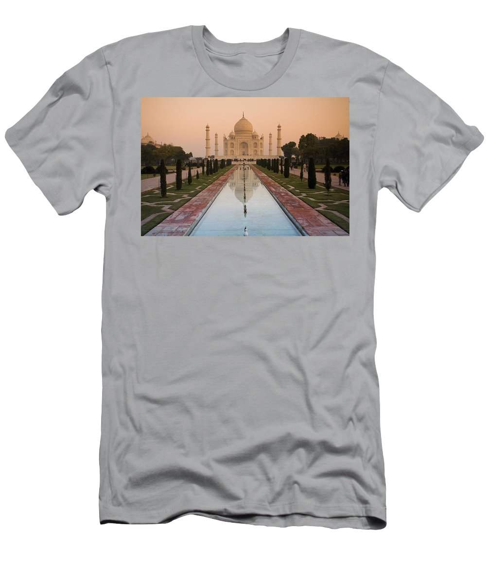 Color Image Men's T-Shirt (Athletic Fit) featuring the photograph View Of Taj Mahal Reflecting In Pond by David DuChemin