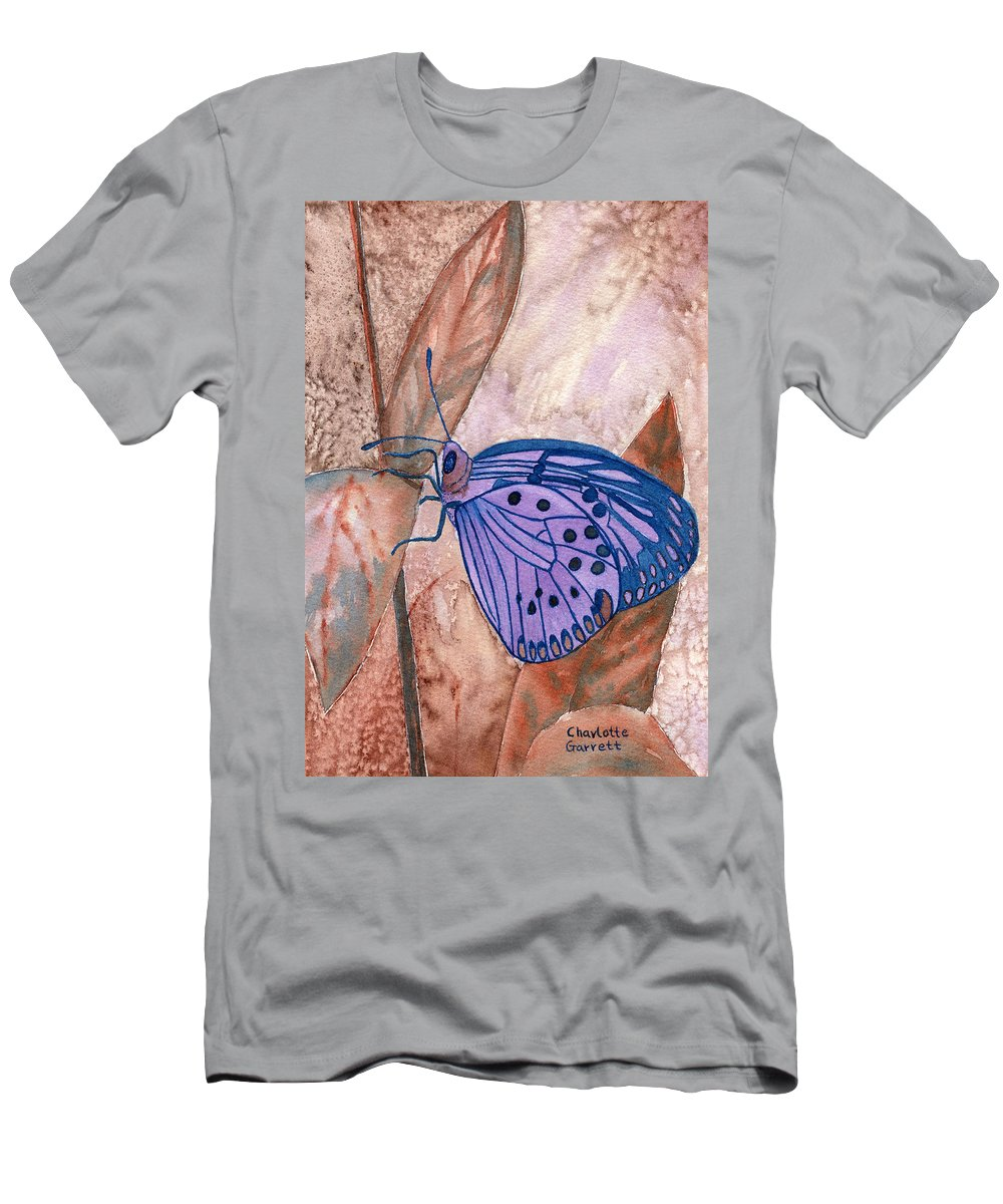 Butterfly Art Men's T-Shirt (Athletic Fit) featuring the painting Visualization Butterfly by Charlotte Garrett