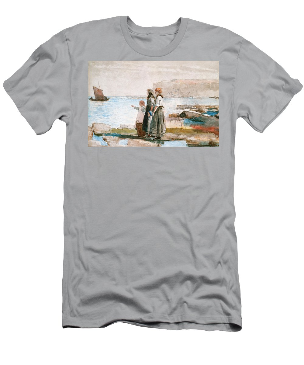 Boat Men's T-Shirt (Athletic Fit) featuring the painting Waiting For The Return Of The Fishing Fleets by Winslow Homer