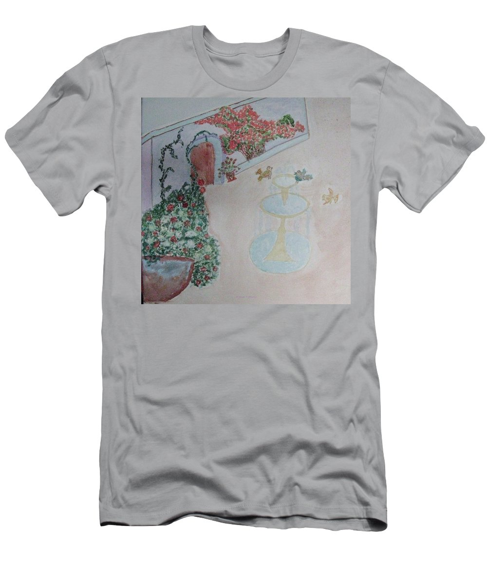 Beautiful Garden Men's T-Shirt (Athletic Fit) featuring the painting Water Fountain Amidst Garden by Sonali Gangane