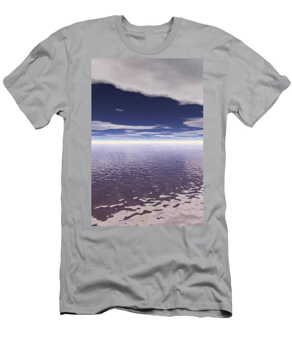 Color Image Men's T-Shirt (Athletic Fit) featuring the photograph Water Horizon by Paul Sale Vern Hoffman