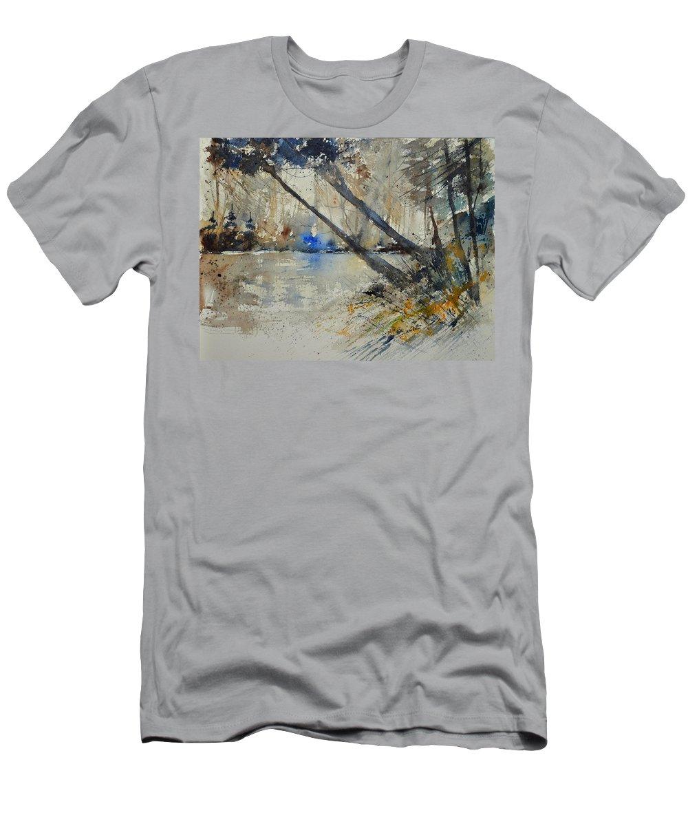 Landscape Men's T-Shirt (Athletic Fit) featuring the painting Watercolor 119080 by Pol Ledent