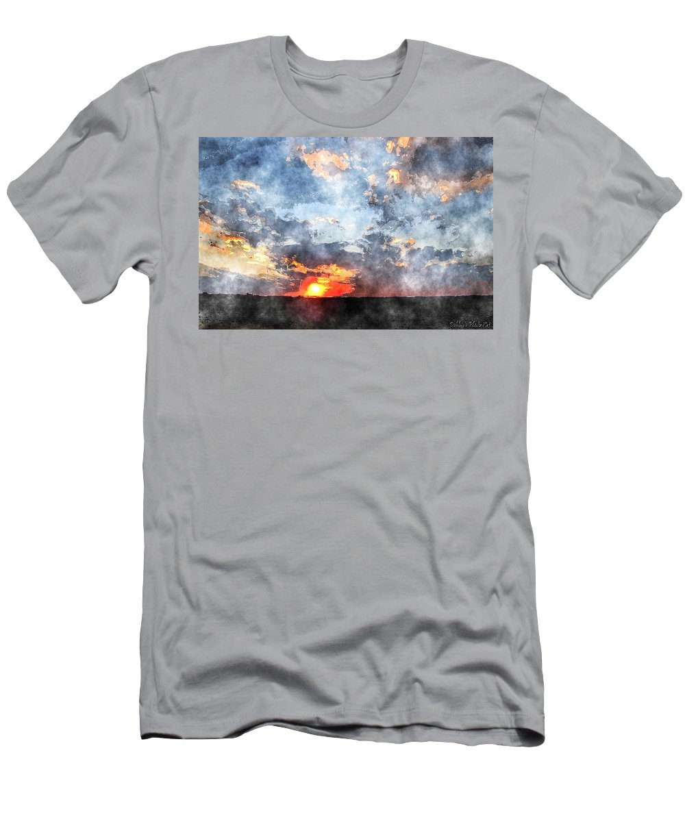 Landscape Men's T-Shirt (Athletic Fit) featuring the digital art Watercolor Sunrise by Debbie Portwood