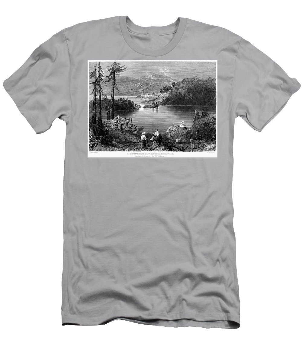 1838 Men's T-Shirt (Athletic Fit) featuring the photograph West: Settlement, C1838 by Granger