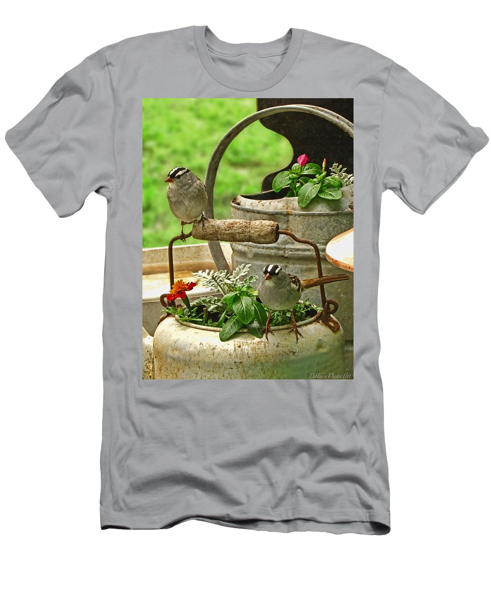 Nature Men's T-Shirt (Athletic Fit) featuring the photograph White Crowned Sparrows On The Flower Pot by Debbie Portwood