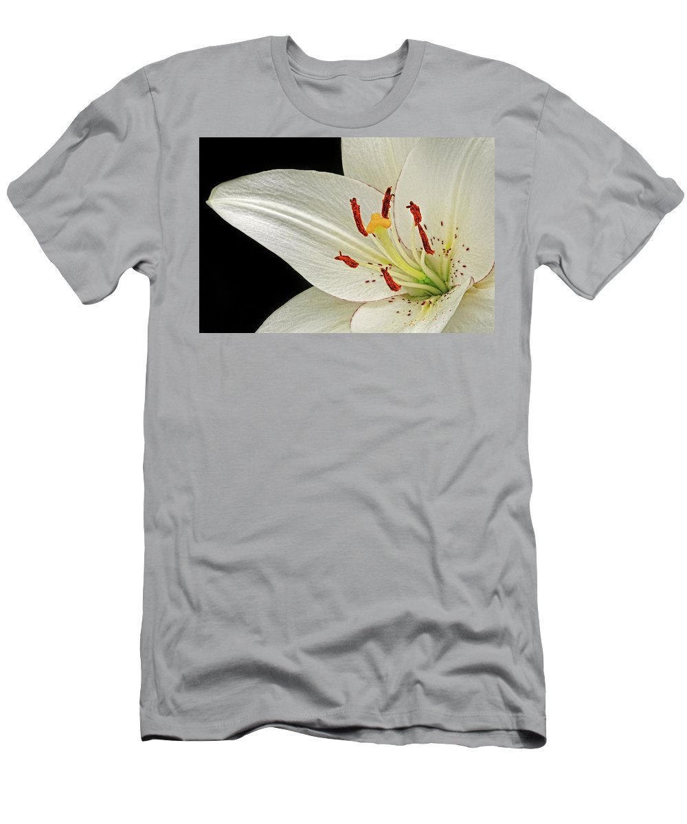 Lily Men's T-Shirt (Athletic Fit) featuring the photograph White Lily by Dave Mills