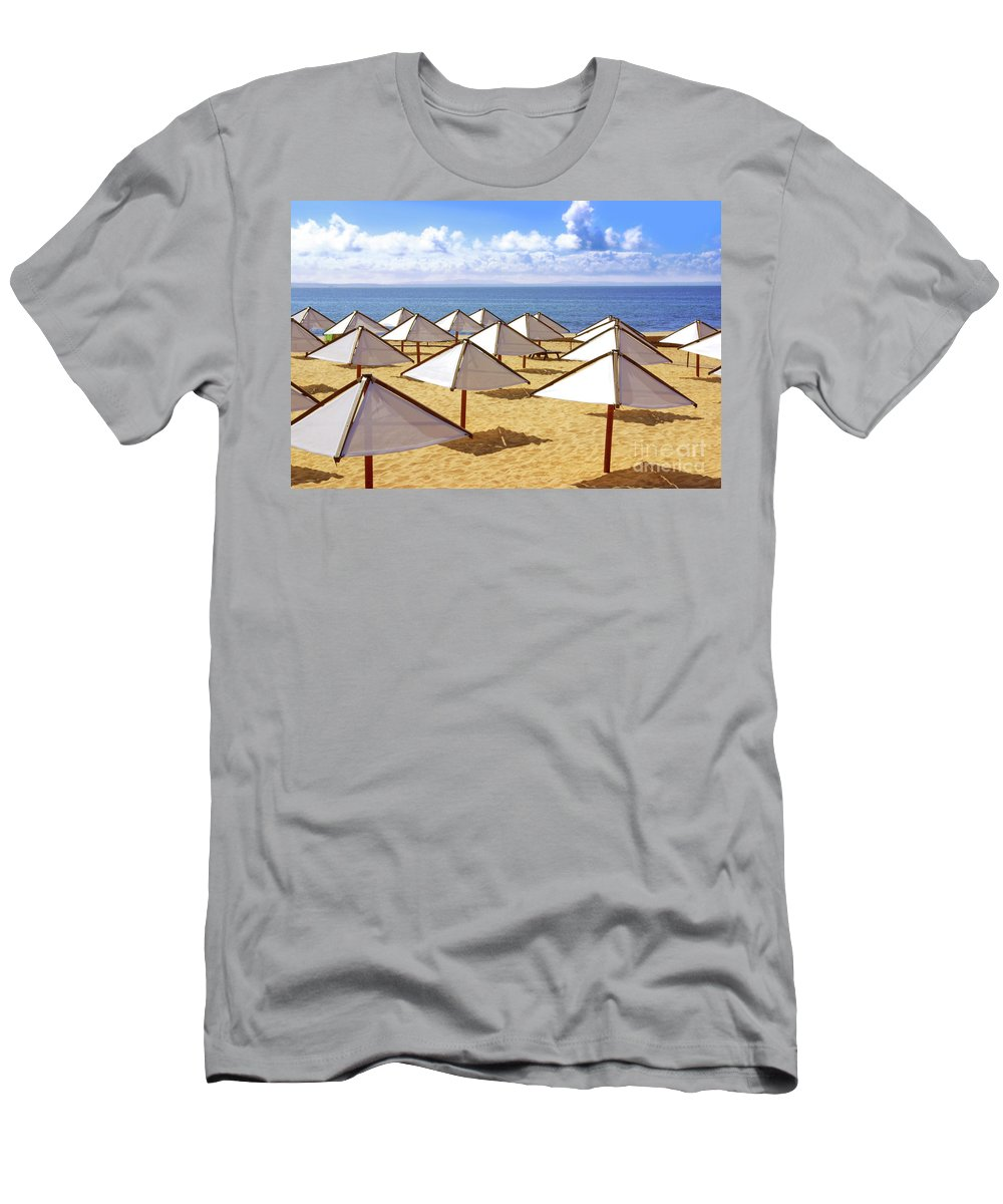 Beach Men's T-Shirt (Athletic Fit) featuring the photograph White Sunshades by Carlos Caetano