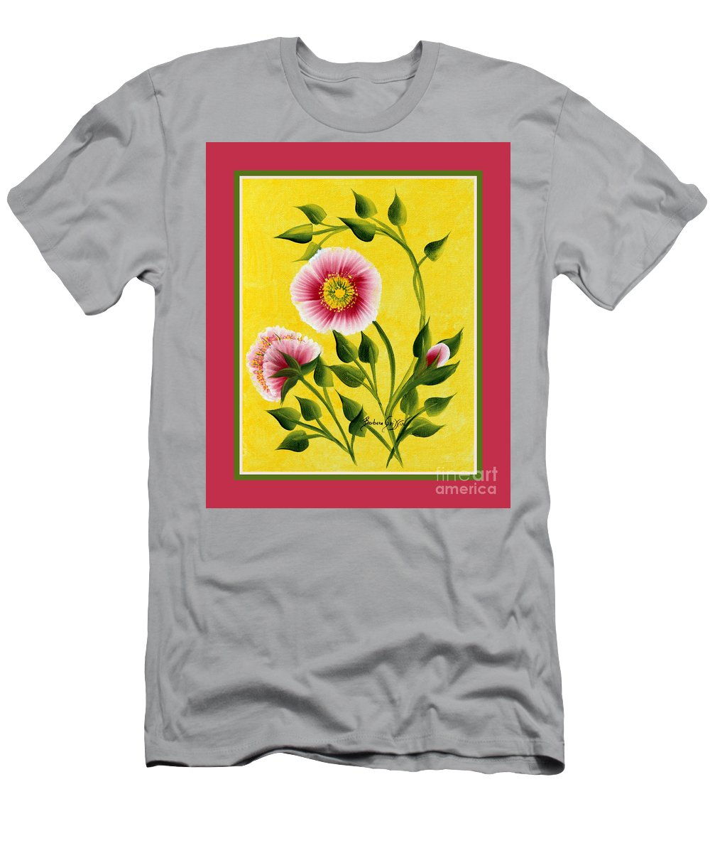 Wild Roses Men's T-Shirt (Athletic Fit) featuring the painting Wild Roses On Yellow With Borders by Barbara Griffin