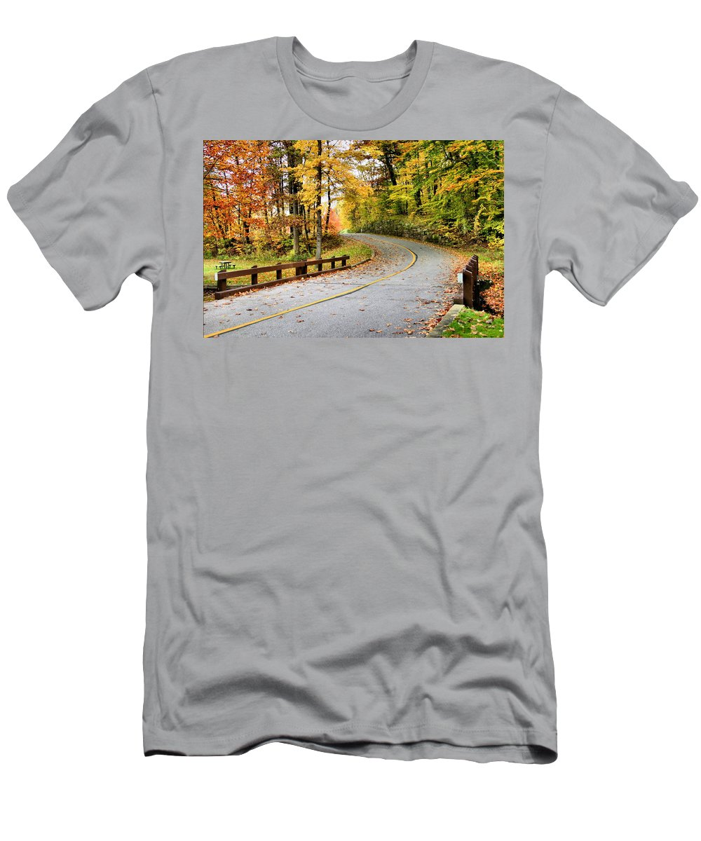 Monroe Falls State Park Men's T-Shirt (Athletic Fit) featuring the photograph Winding Road by Kristin Elmquist