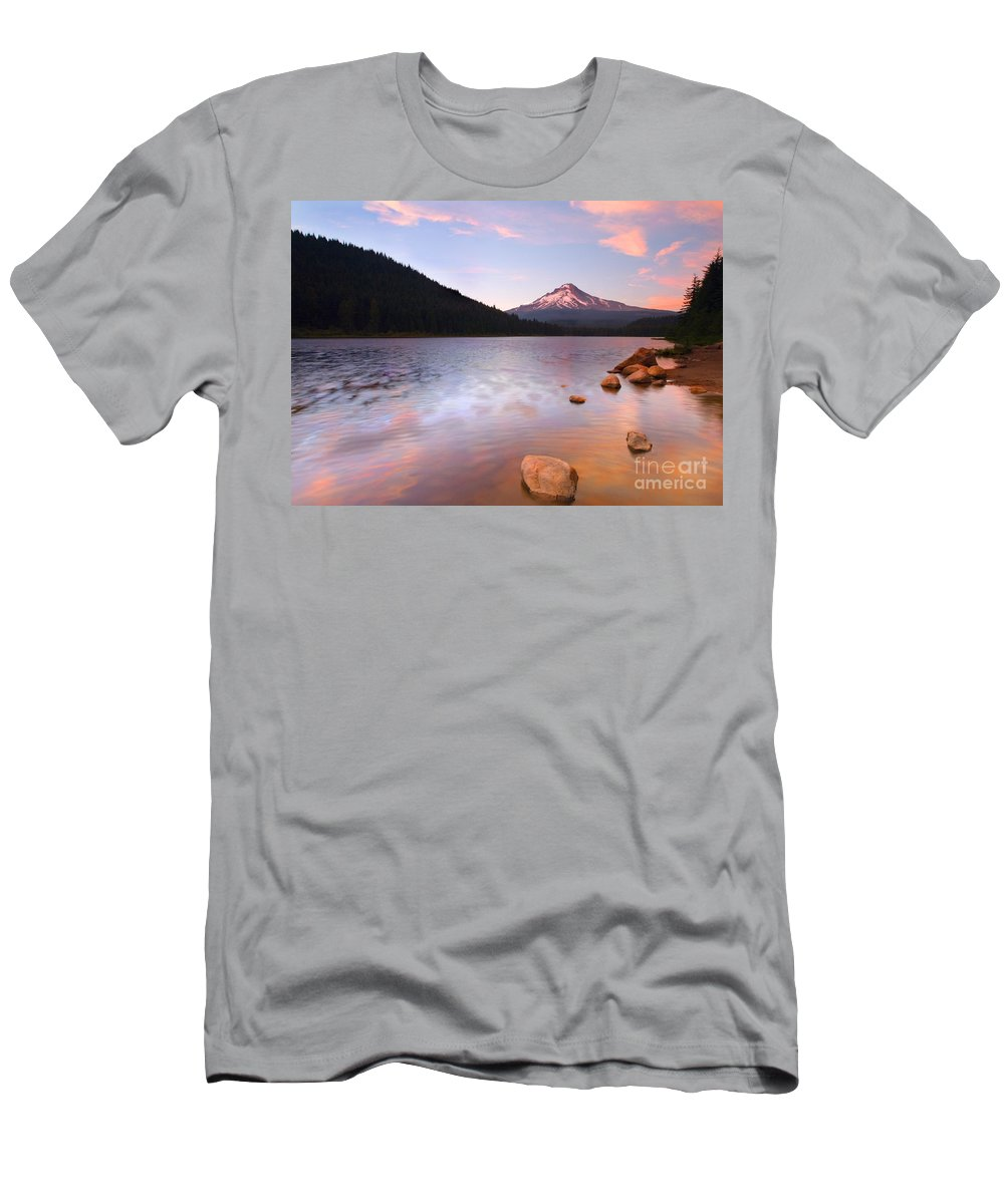 Mt. Hood Men's T-Shirt (Athletic Fit) featuring the photograph Windkissed Reflection by Mike Dawson