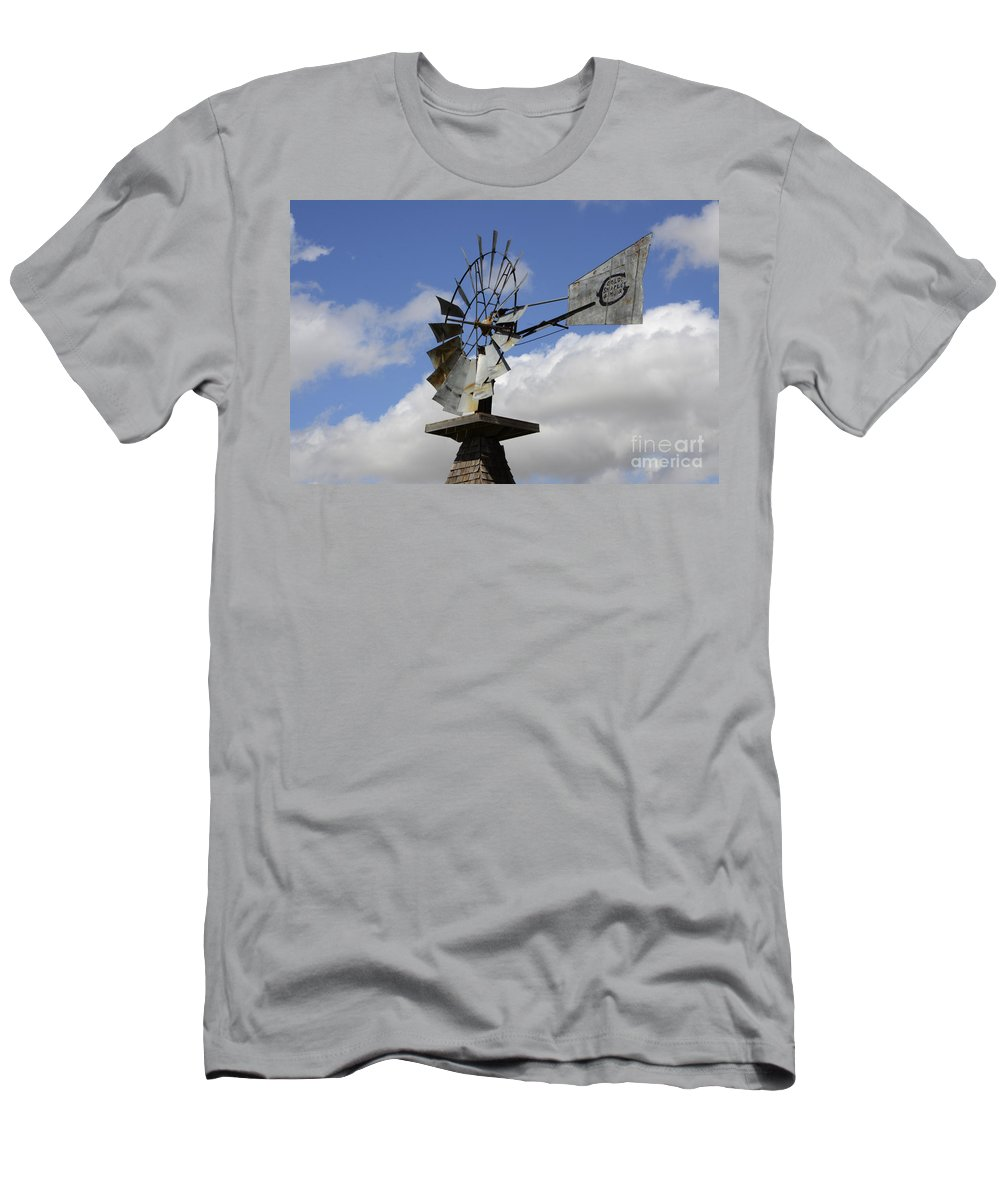 Windmill Men's T-Shirt (Athletic Fit) featuring the photograph Windmill 2 by Bob Christopher