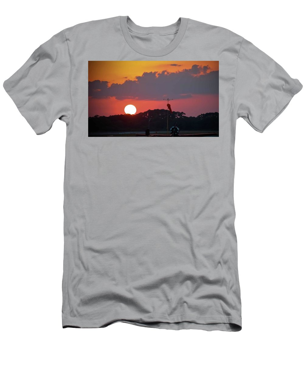 Sunset Men's T-Shirt (Athletic Fit) featuring the photograph Wings At Rest Under The Sunset by DigiArt Diaries by Vicky B Fuller