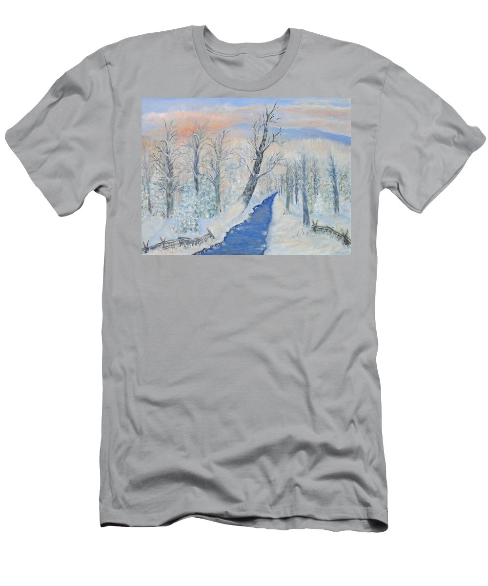 Winter T-Shirt featuring the painting Winter Sunrise by Ben Kiger