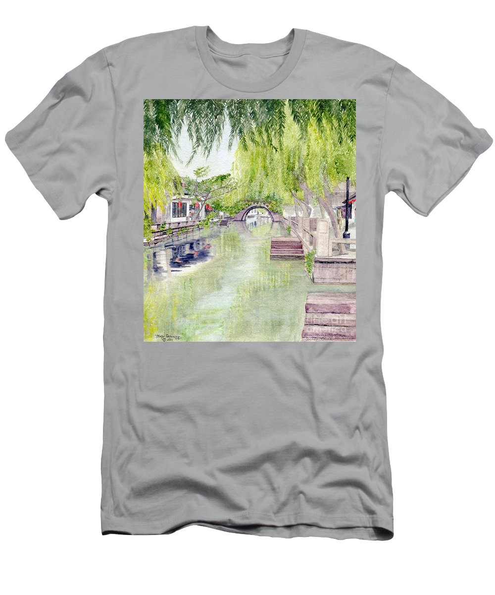 Zhou Zhuang Men's T-Shirt (Athletic Fit) featuring the painting Zhou Zhuang Watertown Suchou China 2006 by Melly Terpening