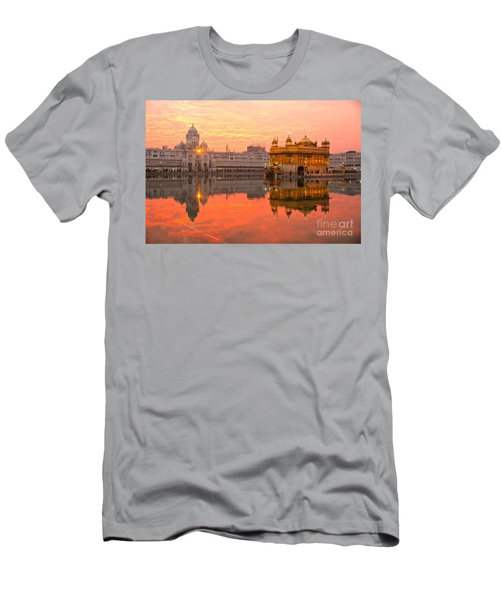 Amritsar Men's T-Shirt (Athletic Fit) featuring the photograph Golden Temple by Luciano Mortula