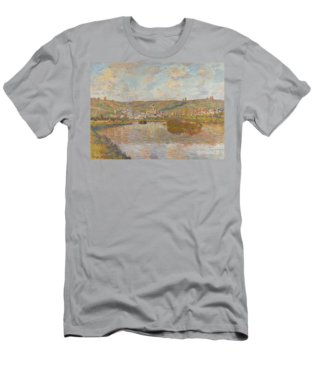 Claude Monet 1840 - 1926 Late Afternoon Men's T-Shirt (Athletic Fit) featuring the painting Late Afternoon Vetheuil by Celestial Images