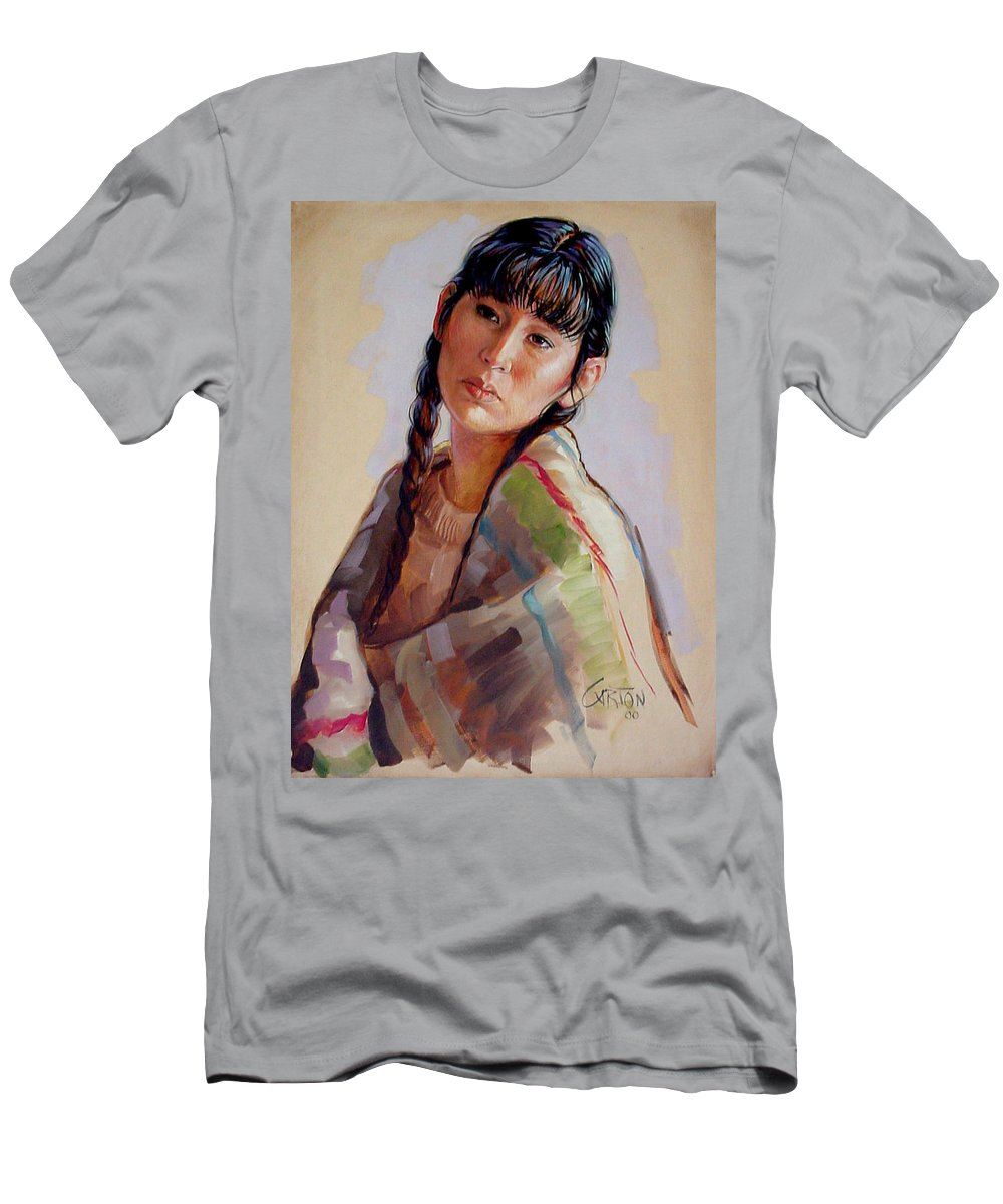 Sacajawea Men's T-Shirt (Athletic Fit) featuring the painting Sacajawea  Study by Jerrold Carton