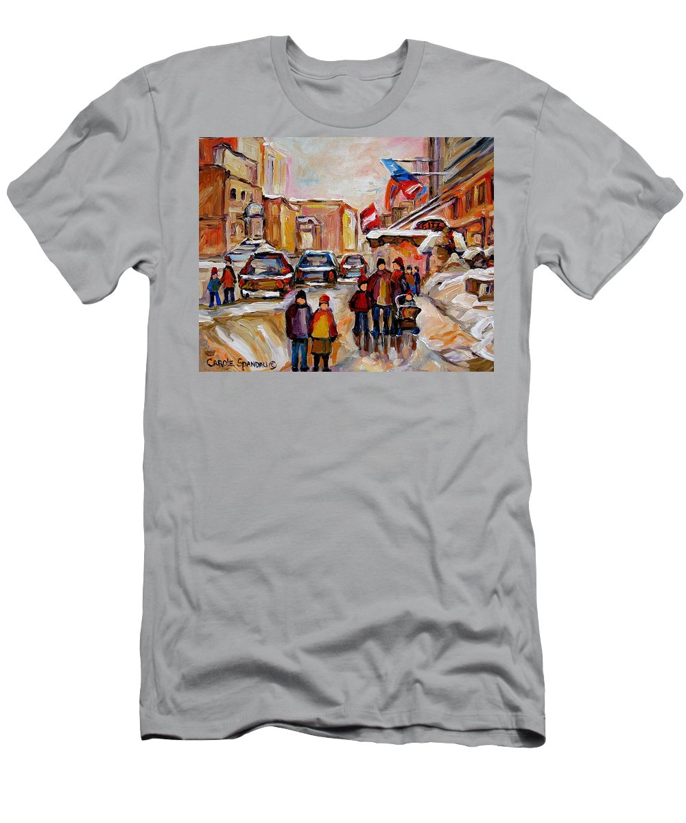 Montreal Men's T-Shirt (Athletic Fit) featuring the painting Winter Walk In Montreal by Carole Spandau