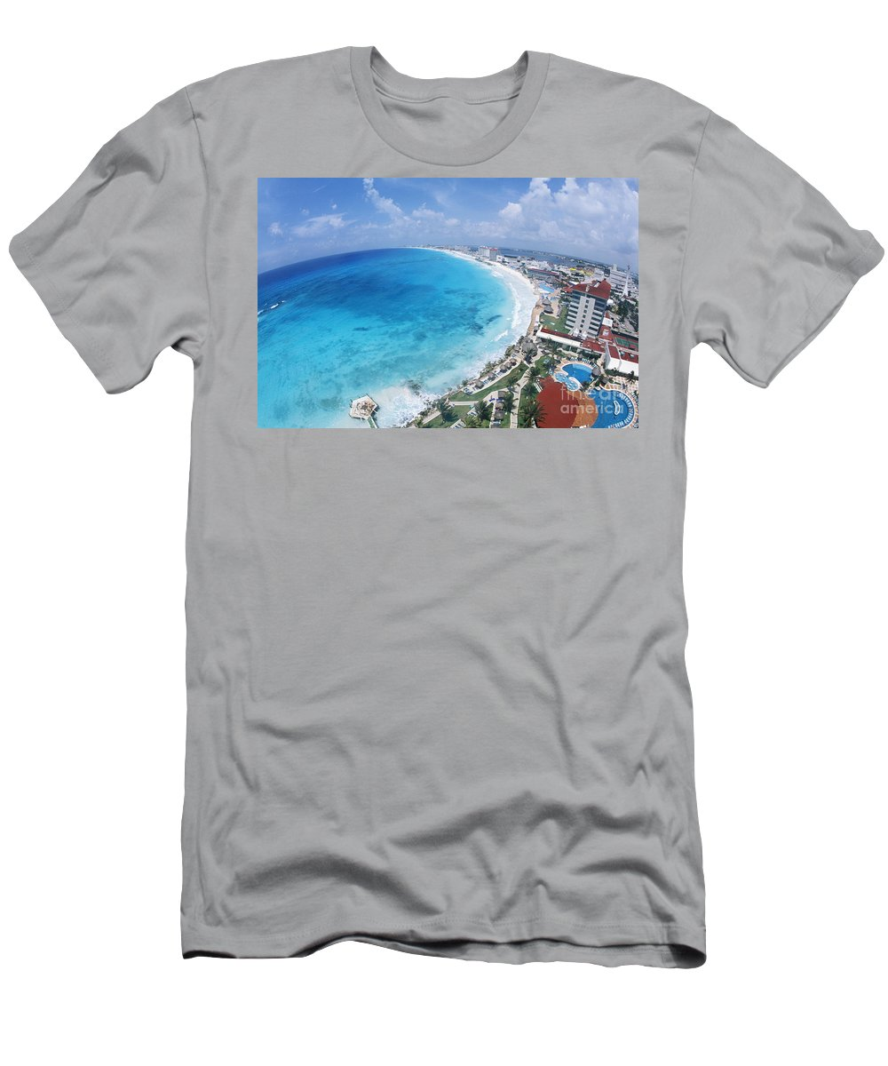 Aerial Men's T-Shirt (Athletic Fit) featuring the photograph Aerial Of Cancun by Bill Bachmann - Printscapes